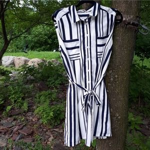 White & Navy Striped Tunic Dress